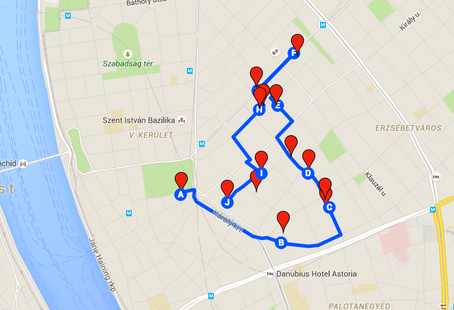 Landkarte Synagogen City Walk - Budapest